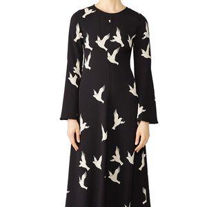 Stone Goya | Black White Bird Midi Clare Dress